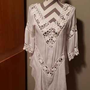 Bohemian Style White Top Knit with sheer Fsbric
